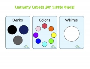 Help children from a young age to know that dirty clothes go directly into the laundry room. I have color labels on the bins to help her (I kept it simple black/navy/gray, white, all other colors) Download these free labels!
