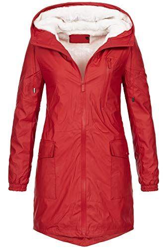 599ef9afec5679 Designer Damen Regenmantel Regenjacke Jacke lang Teddyfell gefüttert B565  [B565-Rot-Gr.
