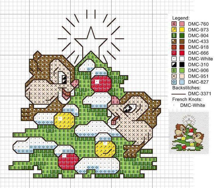 Cross-stitch Chip & Dale Christmas Ornament