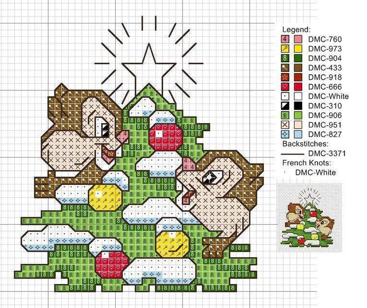 Cross-stitch Chip & Dale Christmas Ornament