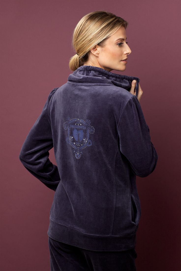 Look great and feel stylish this winter in warmth in the deep purple velvet homesuit - great design detail on the back.