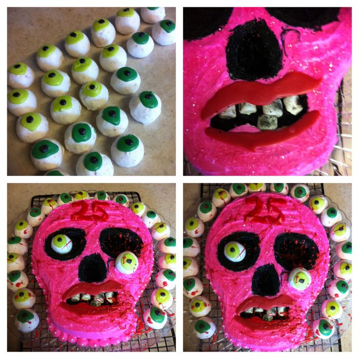 A pink girly zombie cake for my daughters 25 th birthday