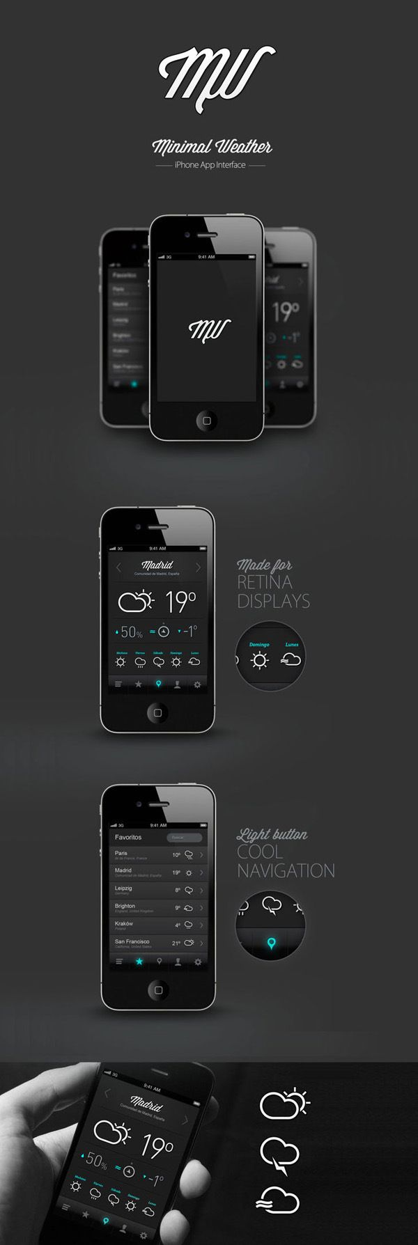 Minimal Weather Mobile UI Design