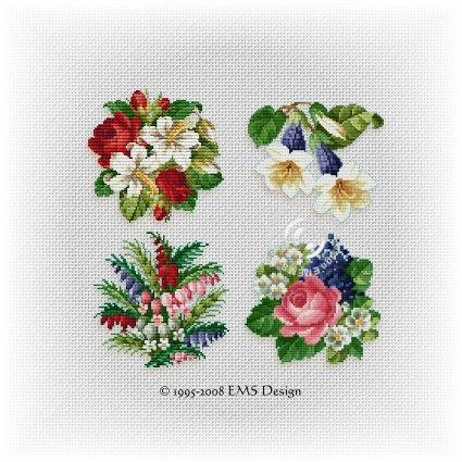 Free Violet Flower Cross-Stitch Pattern - ABC Free Cross
