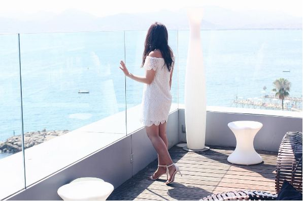 Stylish guest IG @ camillegrandxo rocking that white dress while enjoying the amazing view from the terrace of #Radissonblu Cannes