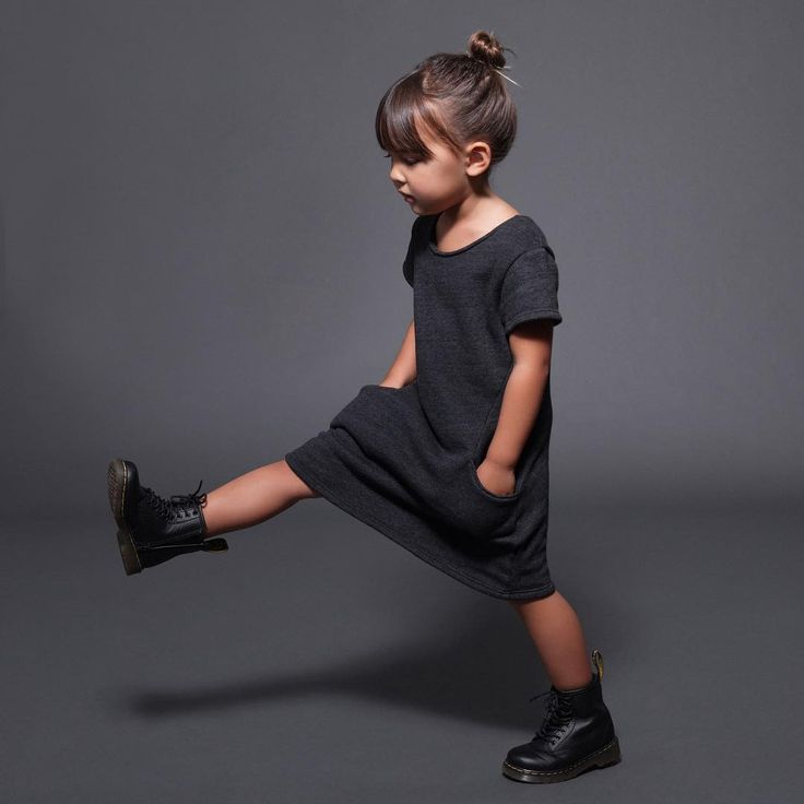 """""""A favorite this season  The perfect winter staple for your little ladies! Our comfiest fleece dress with pockets, comes in black and light grey ☁️…"""""""
