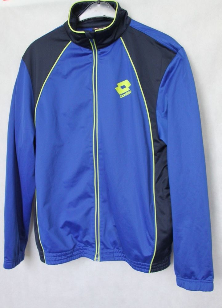 Vintage Mens LOTTO  Full Zip Jacket Track Top Blue sz XL #Lotto #TrackJacket