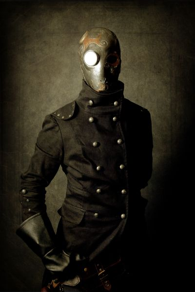 spring collection, diving bell whole-face balaclava teamed with double-breasted Bavarian cavalry jacket and black marigolds
