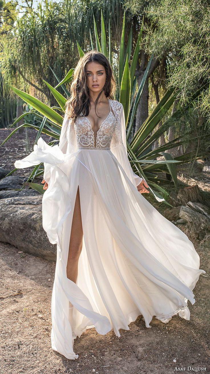 asaf dadush 2018 bridal long sleeves deep plunging sweetheart neckline heavily embellished bodice high slit skirt soft a  line wedding dress covered lace back sweep train (4) mv -- Asaf Dadush 2018 Wedding Dresses