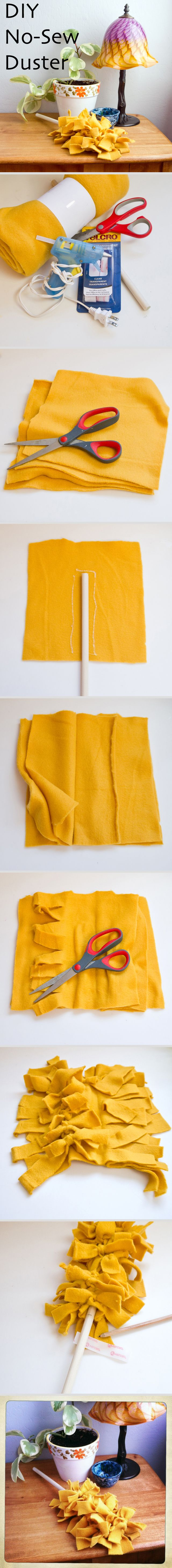 How to make your own swiffer duster! i'd probably use an old t-shirt rather than buy new fabric to clean with