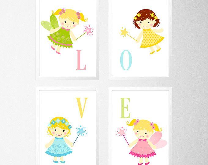 Hadas infantiles pared imprimir Baby niña rosa y gris por HopAndPop