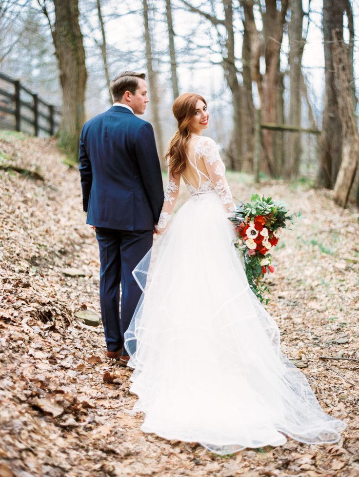 Photography : Perry Vaile | Venue : Hawkesdene House | Wedding Dress : Hayley Paige Read More on SMP: http://www.stylemepretty.com/little-black-book-blog/2016/03/08/intimate-winter-mountain-wedding/
