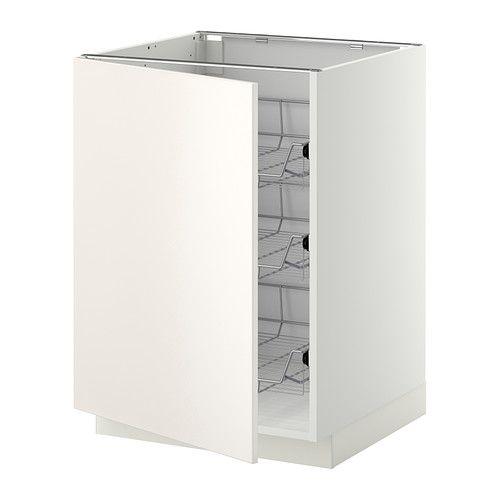 IKEA - METOD, Bänkskåp med trådbackar, vit, Veddinge vit, 60x60 cm, , Lättrullande trådbackar med utdragsstopp.Praktisk förvaring av exempelvis grytor, stekpannor och kärl.Stommens konstruktion är rejäl; 18 mm tjocklek.Du kan välja att montera luckan högerhängd  eller vänsterhängd.Gångjärn med snäppfunktion monteras enkelt fast i luckan utan skruv och gör det lätt att ta av luckan och rengöra den.