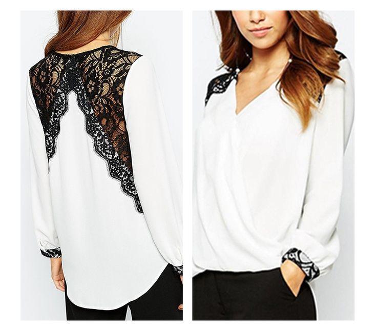 Aliexpress.com: Comprar HDY Haoduoyi Nueva Blusa Mujeres Moda Casual Tops Lace Patchwork Blusa de La Gasa Camisa de Manga Larga de Señora de la Oficina Camisa de La Blusa de blusas de moda fiable proveedores en NEW FASHIONS