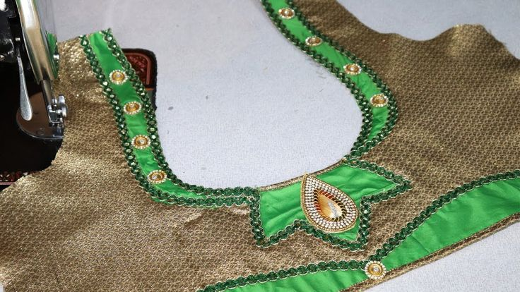 Latest Silk Saree Blouse Neck Design Cutting and Stitching at home 2018