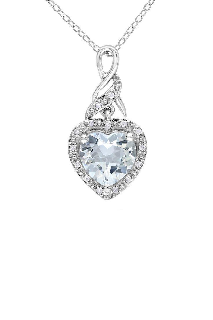 Sterling Silver Diamond Halo Aquamarine Heart Pendant Necklace - 0.06 ctw