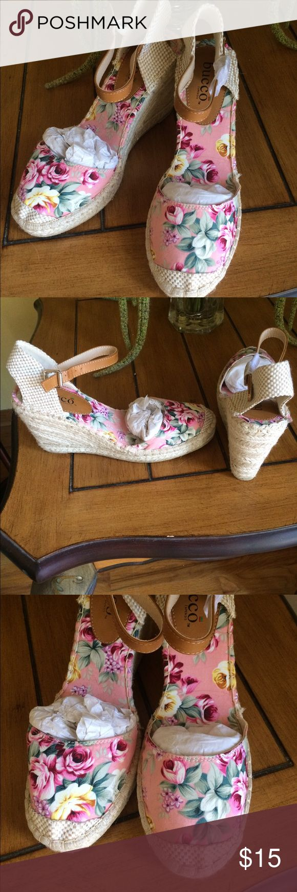 NWOB ADORABLE FLORAL ESPADRILLES NWOB ADORABLE PINK FLORAL ESPADRILLES. Look vintage... Perfect for Spring and Summer... Bucco Shoes Espadrilles