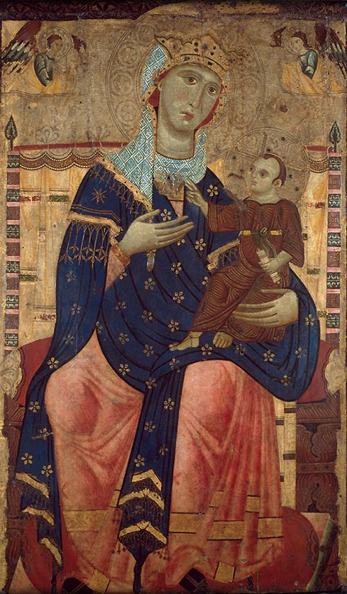 "Painting by Luccan, ca 1250-60, ""Enthroned Madonna with Child"", Canvas mounted on poplar. (city of #Lucca, Italian) #Middle_Age"