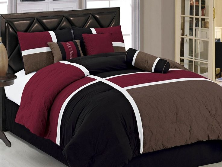 7-pieces Burgundy Brown Black Quilted