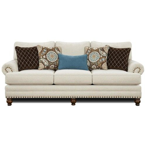 Fusion Furniture 2820 Traditional Sofa with Nailhead Trim.