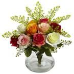 Rose and Maiden Hair Arrangement with Vase, Multi