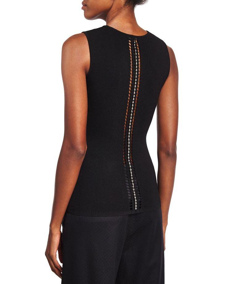 Alexander Wang Ball & Chain Spine Sleeveless Sweater, Black