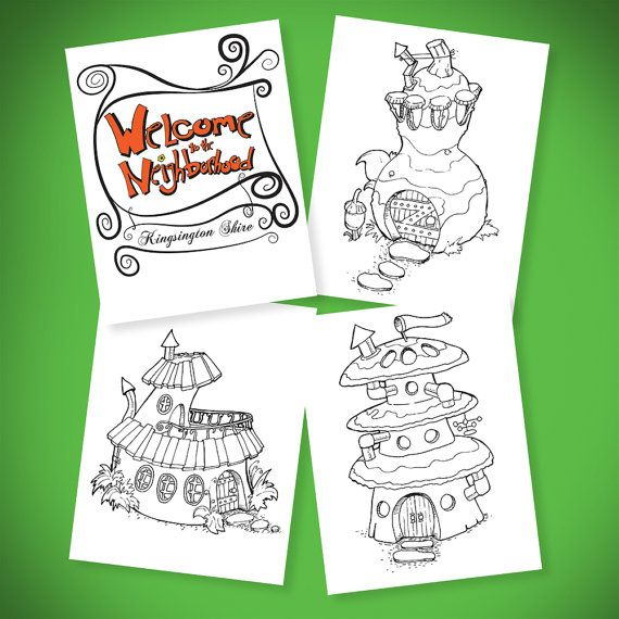 """""""Welcome To The Neighborhood"""" Is my first downloadable fantasy coloring book. I designed 17 fairy houses for you to color.  They are detailed with lots of character!  Let me know which one is your favorite!    I'll send you a free copy if you want to review it for your blog or if you share it on Facebook, Pinterest or Twitter.    You can find it on Etsy https://www.etsy.com/listing/263637484/welcome-to-the-neighborhood"""