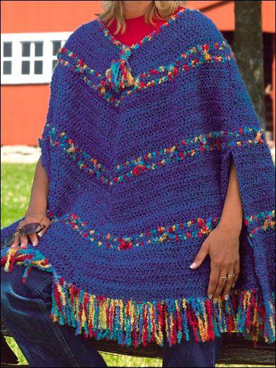 Crochet Accessories - Crochet Poncho Patterns - Montana Blue Poncho