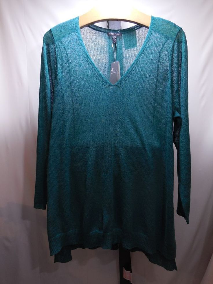 WOMANS WASHABLE SEASONLESS WOOL V NECK SWEATER EILEEN FISHER PLUS 2X 3X $218 #EileenFisher #VNeck