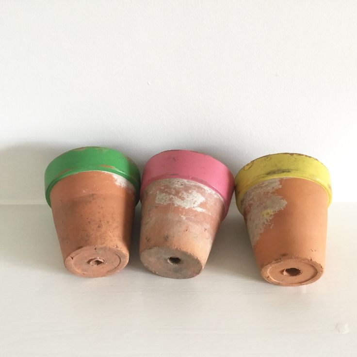 Trio of vintage hand painted terracotta plant pots by moodandhue on Etsy