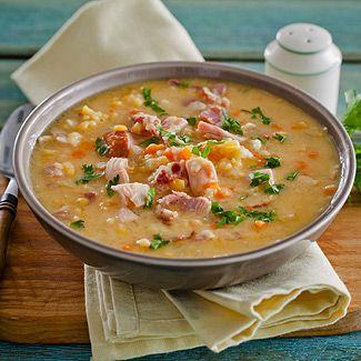 Гороховый суп с копченой курицей в мультиварке