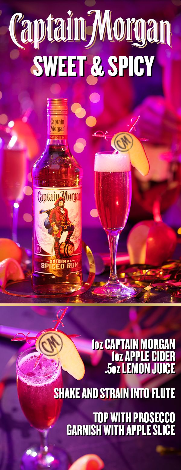 This New Year's Eve, toast to the friends you've made, the times you've shared, and the spiced rum that got you there. To mix up a Sweet N' Spicy before the clock strikes midnight, add 1 oz Captain Morgan Original Spiced Rum, 0.5 oz lemon juice, and 1 oz apple cider in a cocktail shaker. Add ice, shake, and strain into a flute glass. Top with Prosecco, garnish with apple slice and ground cinnamon, and make sure you lock those resolutions away in a safe place.