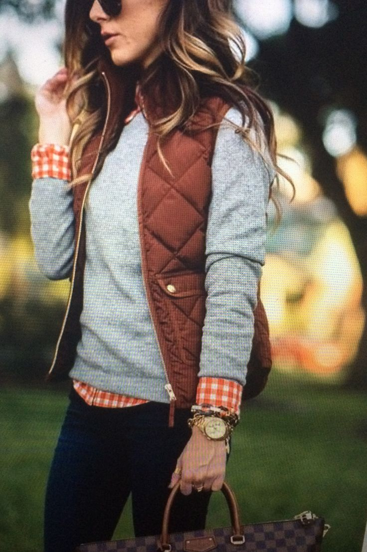 Fall layers. gighman shirt, gray sweater, puffer vest, skinny jeans and LV bag… Fall Fashion Stitch Fix.