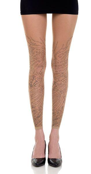 Love Text Print Sheer Footless Tights Nude & Black