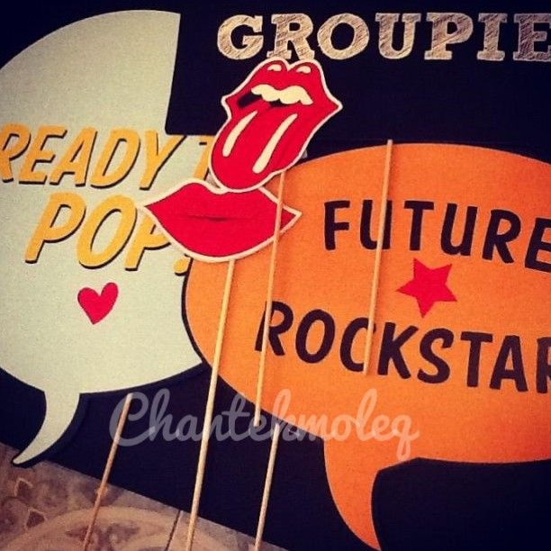 Photobooth props for rockstar party theme!