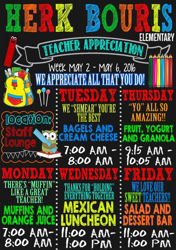 teacher appreciation week schedule, custom teacher ...