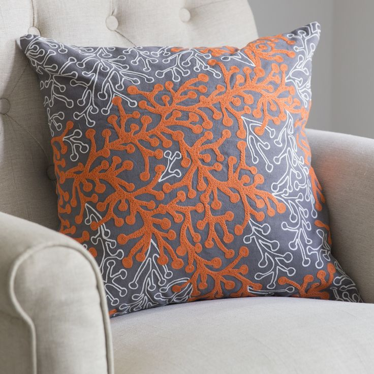 Coral Cushion in Firecracker Orange   www.atkinandthyme.co.uk