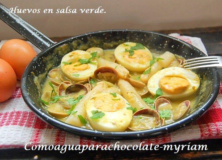 COMO AGUA PARA CHOCOLATE: HUEVOS EN SALSA VERDE CON ALMEJAS Y ESPÁRRAGOS.