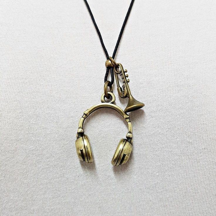 Colar Cordão Masculino Pingentes Fone Ouvido E Saxofone mens necklace style fashion cocar brasil