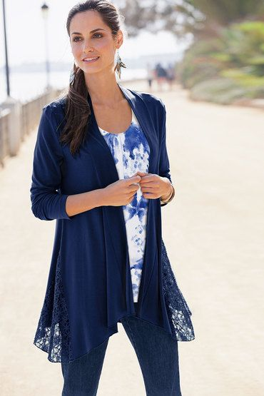Together Woman Drape Front Cardigan