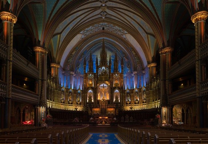 Montréal's Notre Dame Basilica in Quebec, Canada, is one of the most stunning examples of Gothic Revival architecture in the world.