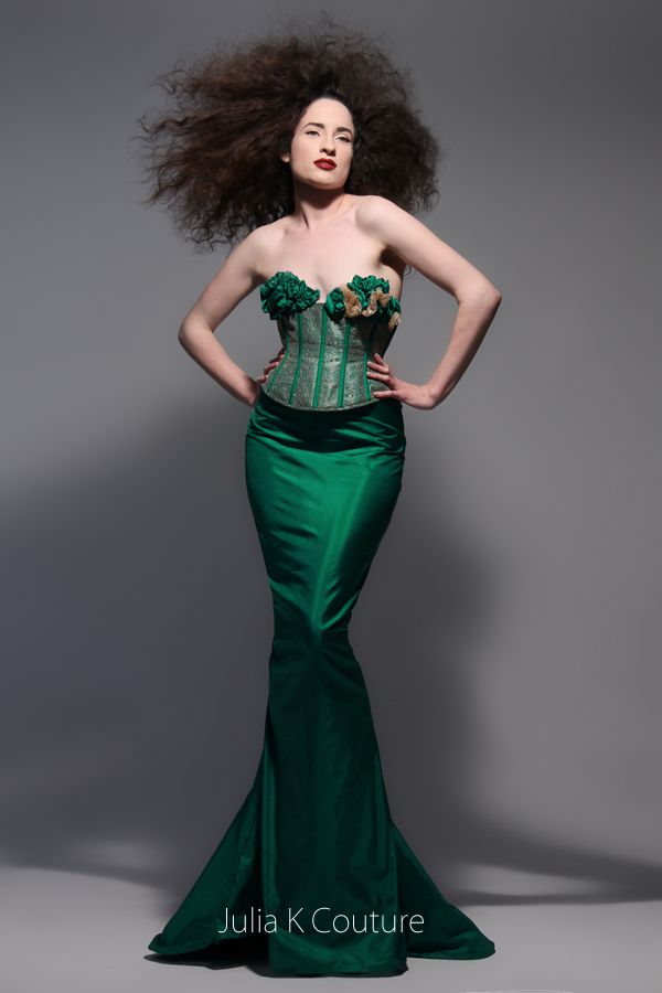 Violinist Hayley Bullock wearing couture gown and corset by Julia K Couture - photo by Nik Studios