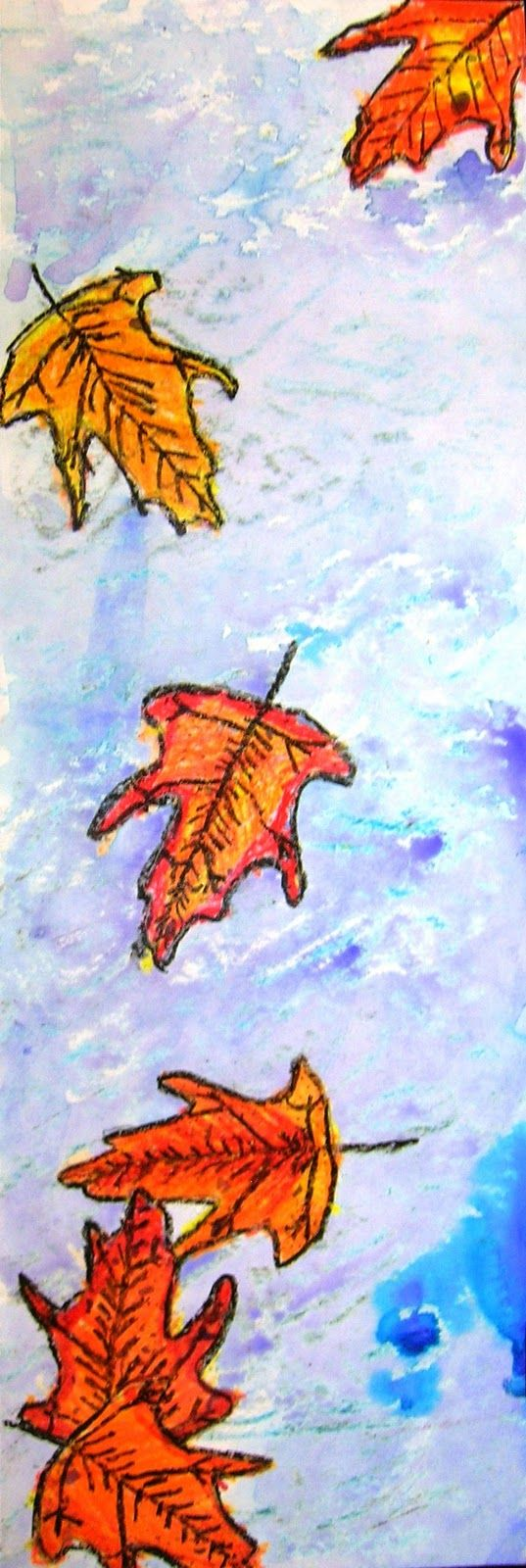 """Leaves in Motion from North Oakview  Elementary School.  This is actually a """"tall"""" masterpiece illustrating falling leaves.  I like the way they are clustered to really simulate movement!  The leaves could be oil pastel or water color resist."""