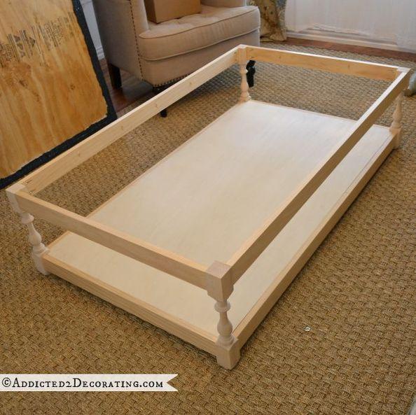 bricolaje diamante tufted mesa de café otomano, muebles pintados, Construyendo la base era la parte fácil de usar mi Kreg Jig