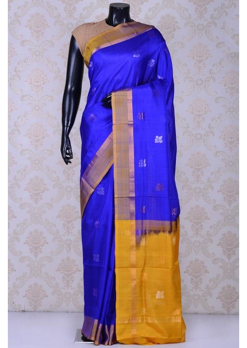 Royal blue & gold sublime uppada silk saree with dull gold border-SR20606
