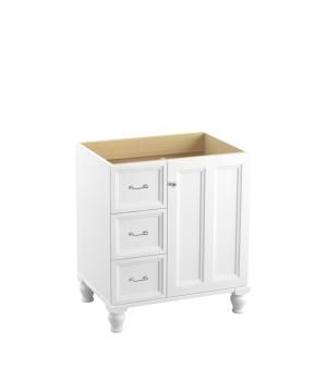 """Damask® 30"""" vanity with furniture legs, 1 door and 3 drawers on left"""