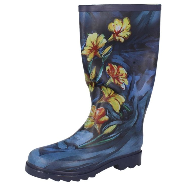 LADIES FLORAL WELLINGTON BOOTS IN NAVY - STYLE - X1063