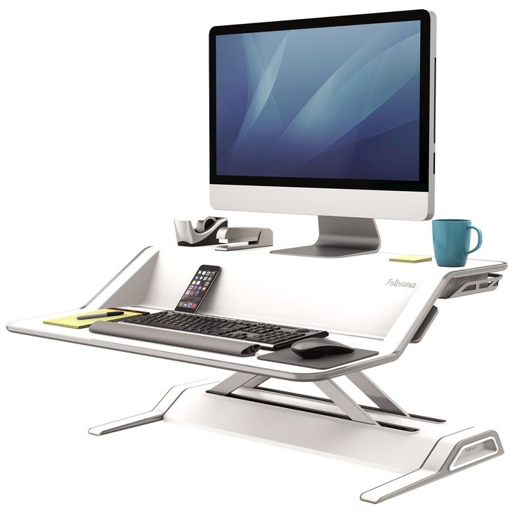 Lotus Sit-Stand Workstation - can choose dual monitor set-up, and has cord channels to keep things tidy. 22 heigh positions