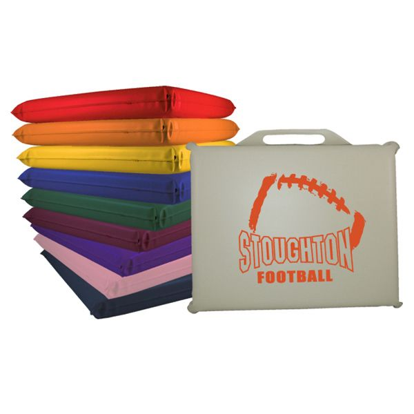 """Rectangle Vinyl Seat Cushion...Get some nice cushioning for your promotional campaign with this comfy item! Our compact 13"""" rectangular vinyl stadium seat cushion is 13"""" x 11"""" x 1"""". You get just the right protection from both the heat and cold of stadium seating. And when you're not sitting on it, use it as a waver to support your team! Silkscreen or digitally printed, it's the perfect giveaway for banks, colleges, senior centers, sports complexes and teams!"""