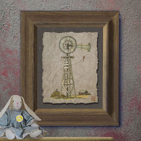 Nostalgic rustic wood windmill art Whimsical yesteryear print adds rural landscape art to wall decor as 8x10 or 13x19 country art print